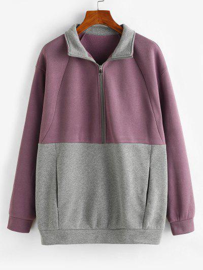 ZAFUL Two Tone Pockets Half Zip Sweatshirt - Purple S