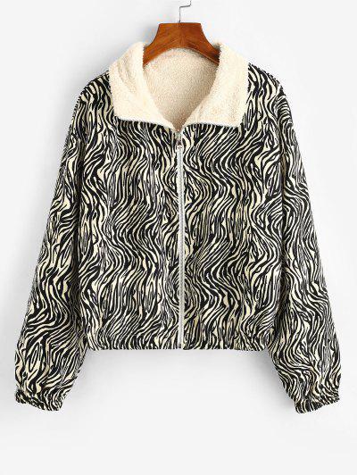 ZAFUL Zip Up Zebra Print Fleece Lined Jacket - Black S