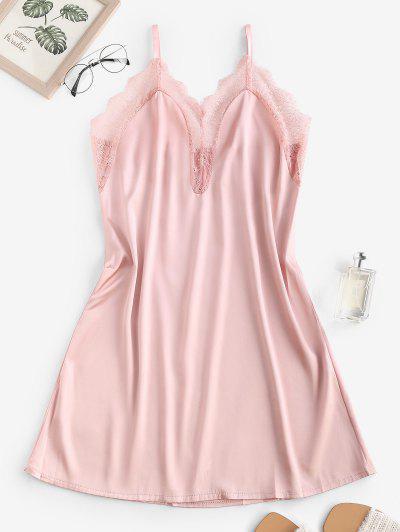 Satin Lace Insert Cami Night Dress - Light Pink L
