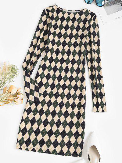 ZAFUL Long Sleeve Slinky Argyle Dress - Deep Green Xl