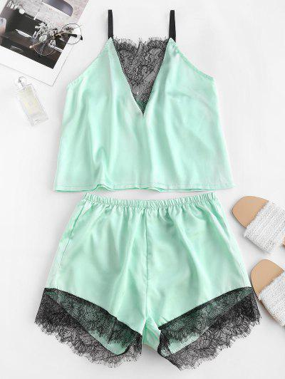 Flower Lace Satin Pajama Shorts Set - Light Green L