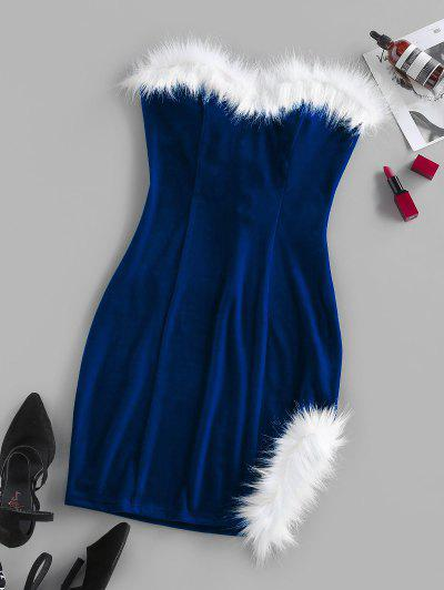 ZAFUL Velour Back Lace Up Strapless Dress - Blue L