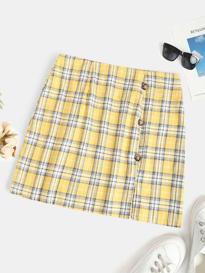 Plus Size Checked Buttoned Pelmet Skirt - Yellow 1xl