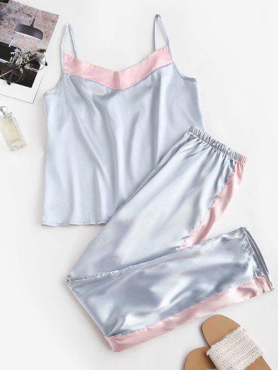 Satin Farbblock Pyjama Hosen Set - Multi S