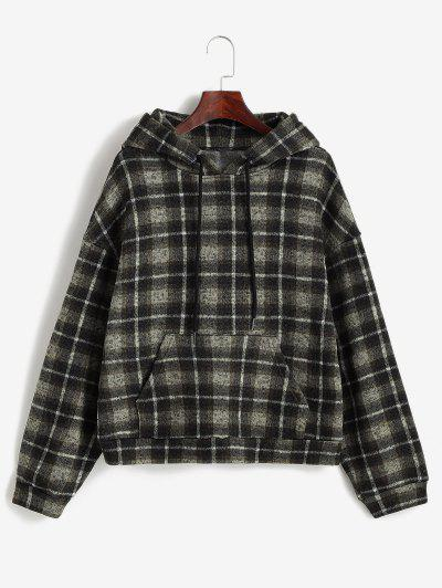ZAFUL Plaid Fleece Lined Knitted Pocket Hoodie - Brown Bear L