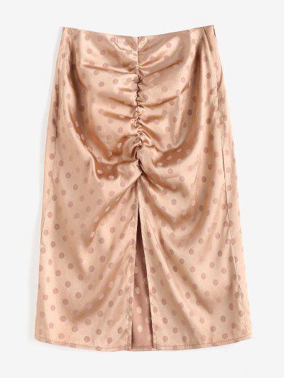 Polka Dot Ruched Slit Skirt - Light Coffee S