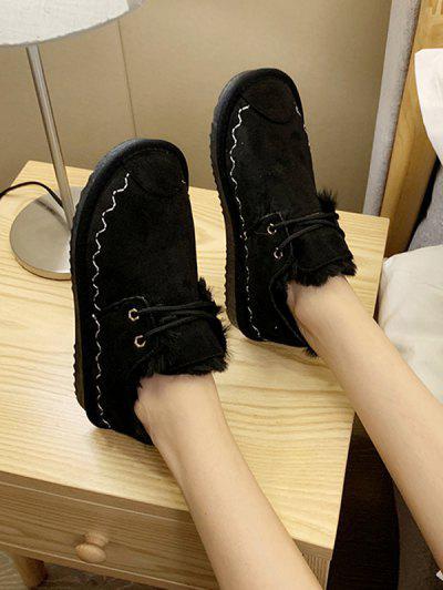 Lace Up Faux Fur Flat Shoes - Black Eu 37