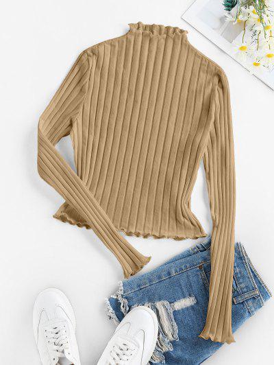 ZAFUL Lettuce Trim Ribbed Knit T Shirt - Tan S