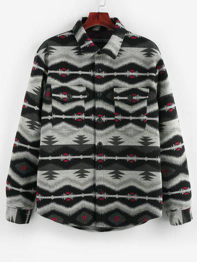 ZAFUL Tribal Jacquard Double Pockets Jacket - Black S