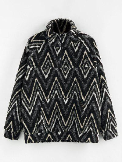 ZAFUL Zig Zag Pattern Quarter Zip Teddy Jacket - Black L