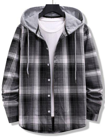 Colorblock Striped Plaid Pattern Button Up Shirt - Black L