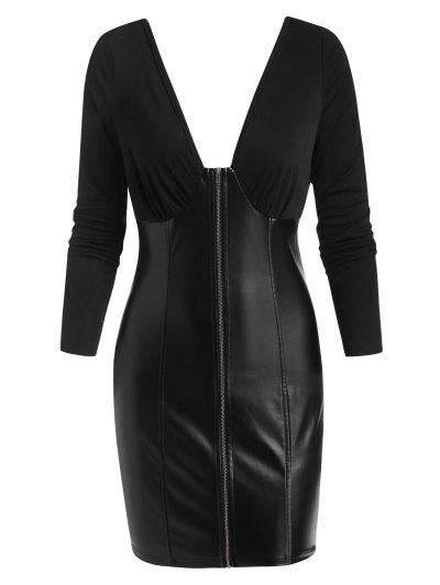 ZAFUL Plunging Zip Front Faux Leather Insert Bodycon Dress - Black Xl