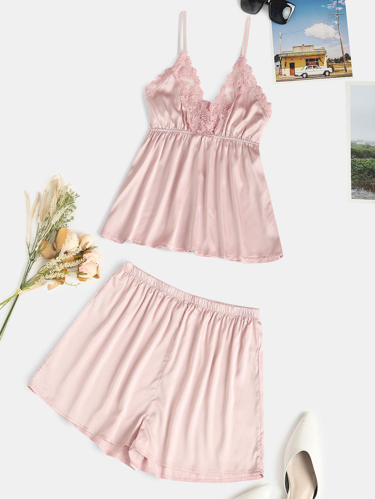 zaful Lace Panel Satin Pajama Set