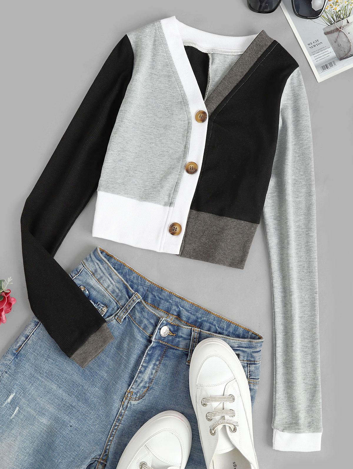 T-shirt Court Boutonné en Blocs de Couleurs M Noir