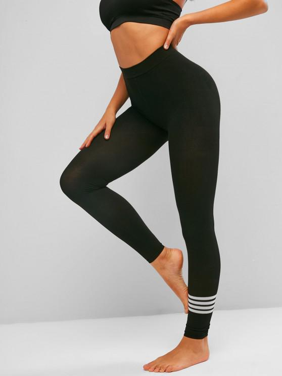 hot Striped Knit Ankle Length Stretchy Leggings - BLACK ONE SIZE