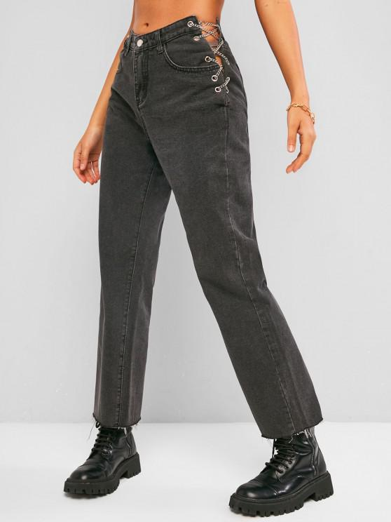 Jeans Holgado Cadena y Cordones - Negro S