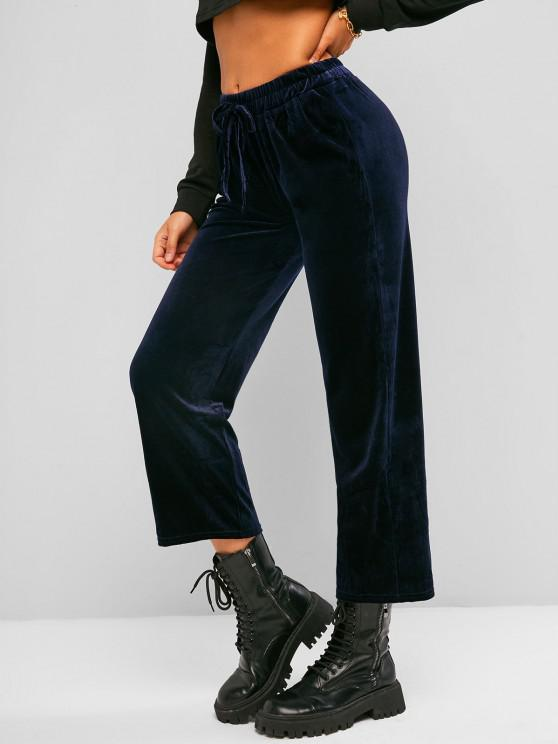 Straight Velvet Tie Pull On Pants - ازرق غامق حجم واحد