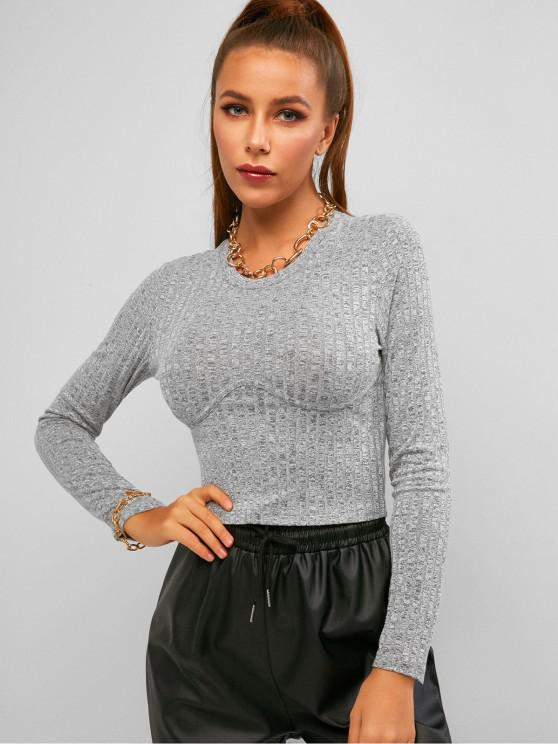 womens ZAFUL Space Dye Rib Knit Crop Long Sleeve Tee - LIGHT GRAY S