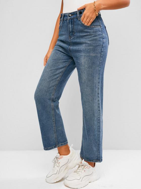 Jeans Ajustado Cintura Alta y Bolsillos - Azul L
