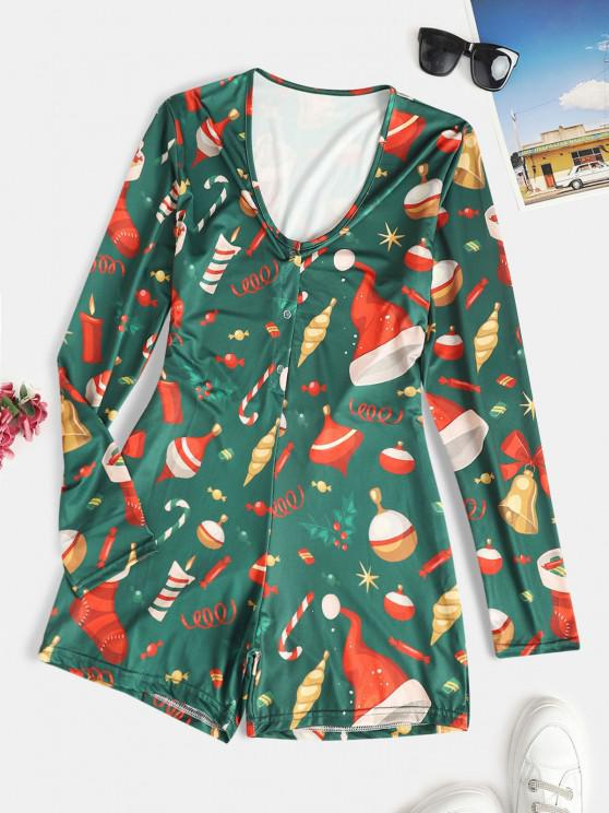 lady Christmas Bell Candy Berry Ball Print Half Button Pajama Romper - DEEP GREEN S