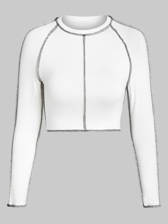 latest ZAFUL Topstitching Raglan Sleeve Crop T Shirt - WHITE M