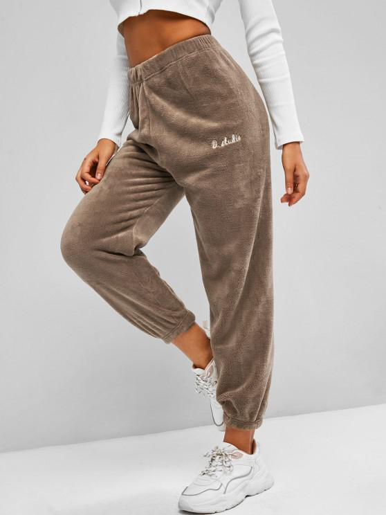 unique Letter Embroidered Fluffy Elastic Hem Pants - COFFEE ONE SIZE