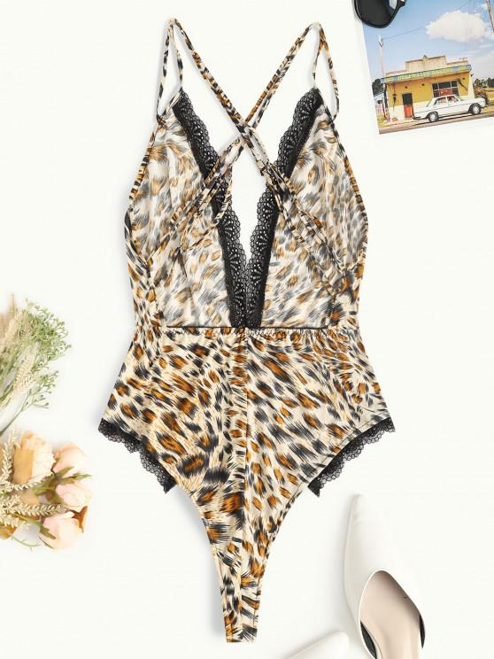 Leopard Lace Trim Criss Cross Slip Teddy - Multi   ZAFUL