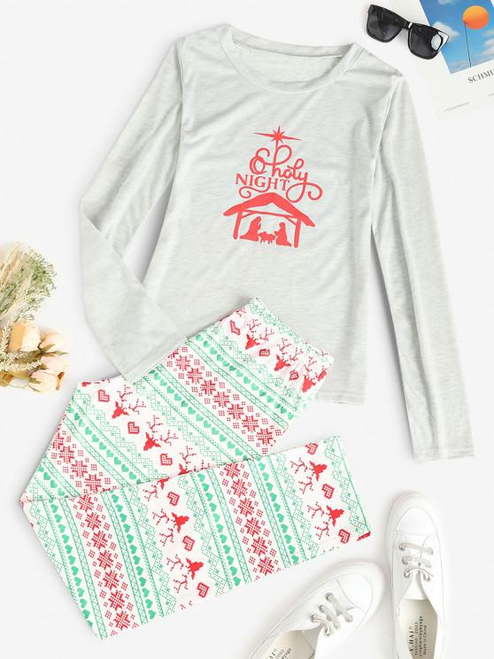 trendy Christmas Pattern Long Sleeve Pajama Set - MULTI S