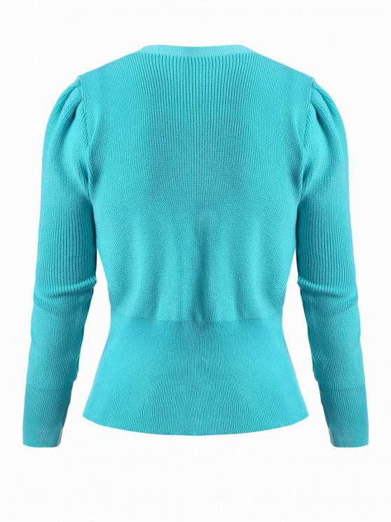 Double Breasted Buttoned Cuff Knit Cardigan - Blue | ZAFUL