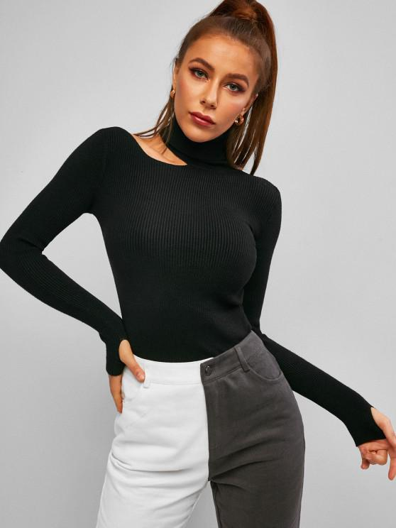 fashion Turtleneck Cut Out Ribbed Knitwear - BLACK ONE SIZE
