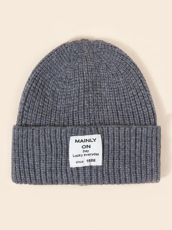 outfit Letter Label Solid Knitted Hat - SMOKEY GRAY