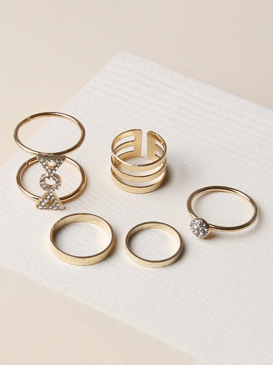 chic 5Pcs Hollow Candy Shape Ring Set - GOLDEN