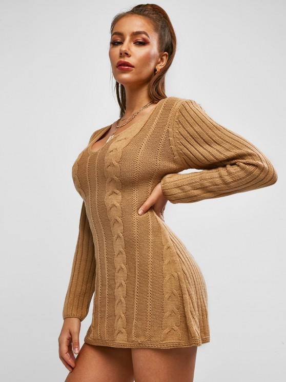 ZAFUL Cable Knit Sweater Tunic Dress - قهوة S