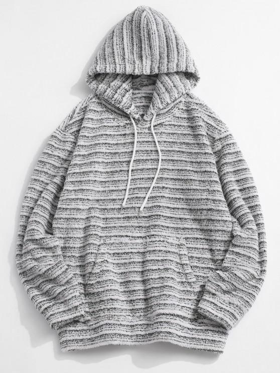 women's Kangaroo Pocket Striped Pattern Fluffy Hoodie - MULTI XL