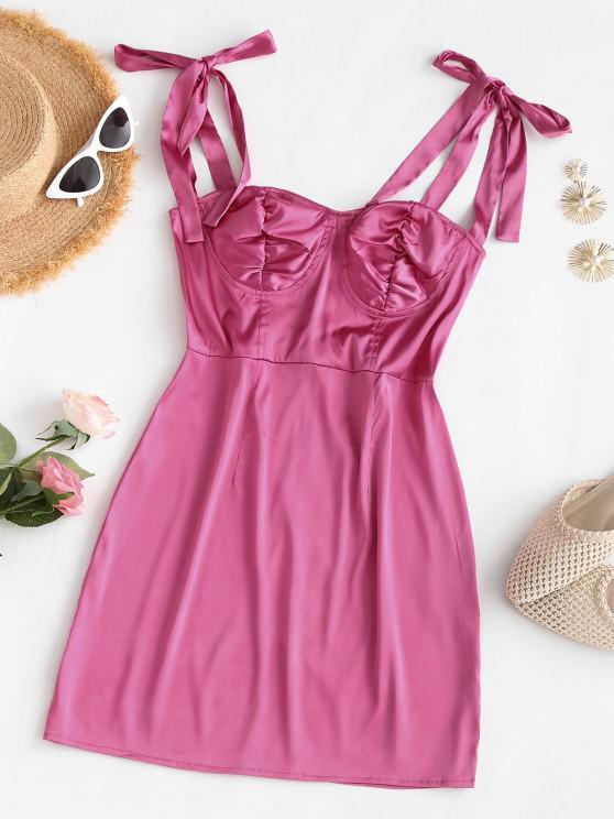 fancy Silky Tie Shoulder Bustier Mini Dress - LIGHT PINK L