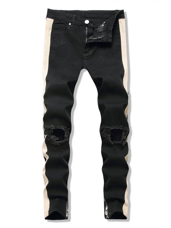 Cut Out Contrast Tape Jeans - أسود XL