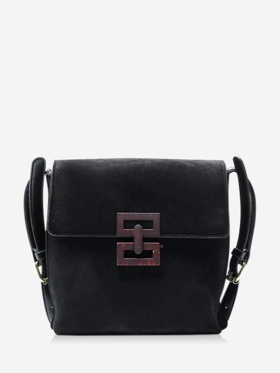 womens Hollow Geo Square Crossbody Bag - BLACK