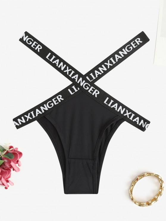affordable Letter Tape Criss Cross Briefs - BLACK ONE SIZE