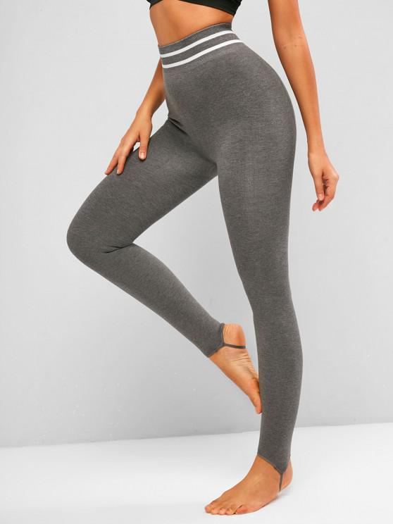 ladies Striped Detail Fleece Lined Jersey Stirrup Leggings - ASH GRAY ONE SIZE