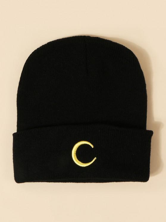 ladies Moon Embroidery Pattern Knitted Hat - BLACK