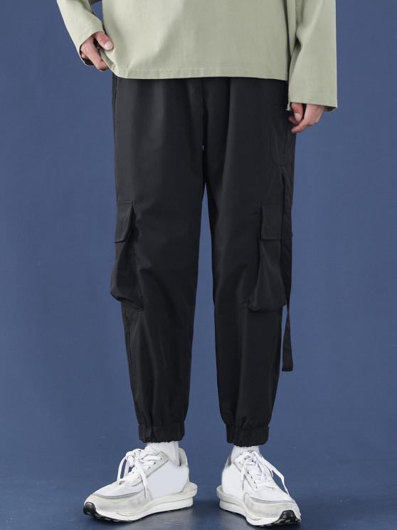 chic Letter Applique Multi Pockets Tapered Cargo Pants - BLACK XL