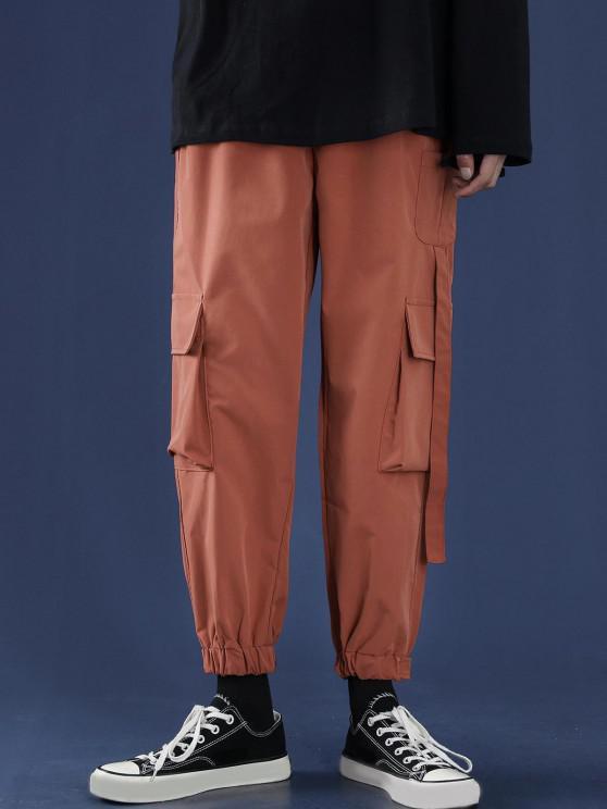 Letter Applique Multi Pockets Tapered Cargo Pants - النمر البرتقالي S