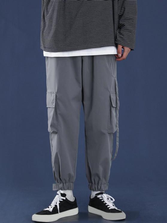 Letter Applique Multi Pockets Tapered Cargo Pants - الرمادي الداكن XL