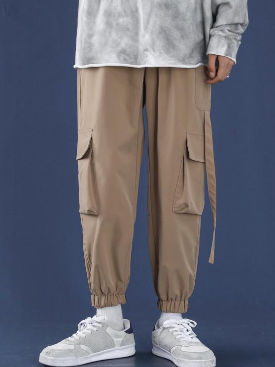 shop Letter Applique Multi Pockets Tapered Cargo Pants - APRICOT XL
