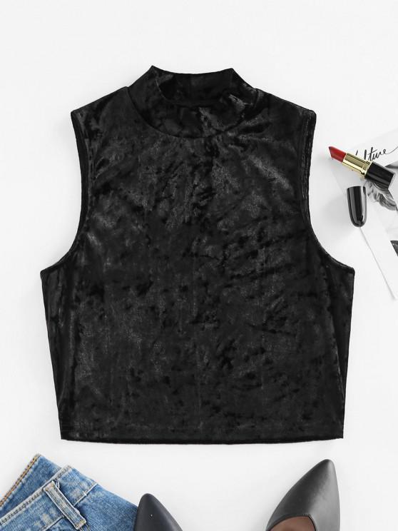 shops ZAFUL Sleeveless Velvet Mock Neck Crop Top - BLACK XL