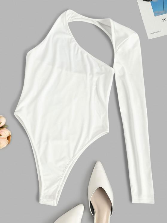 online Solid Asymmetrical Sleeve Cut Out Bodysuit - WHITE L