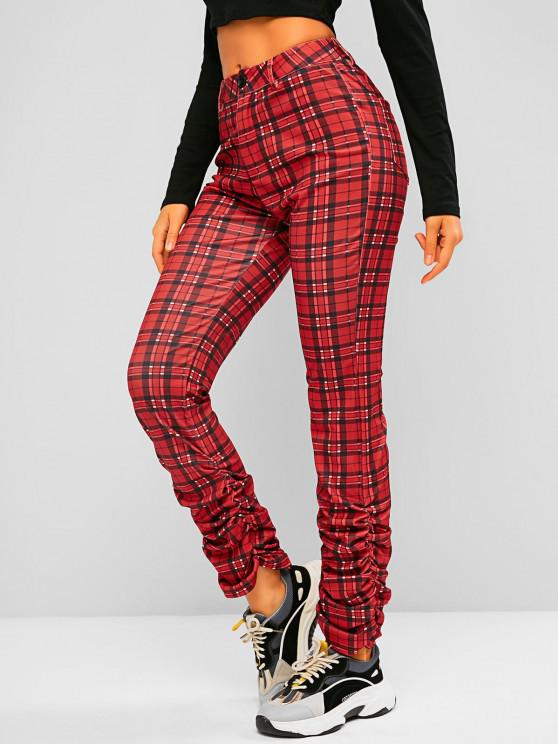 Plaid Pocket High Waisted Stacked Pants - أحمر S