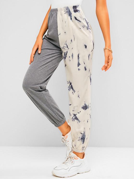 lady ZAFUL Tie Dye Colorblock Jogger Sweatpants - GRAY XL