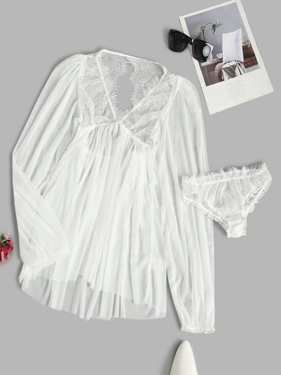 trendy Eyelash Lace Panel Open Back Sheer Mesh Lingerie Dress - WHITE ONE SIZE