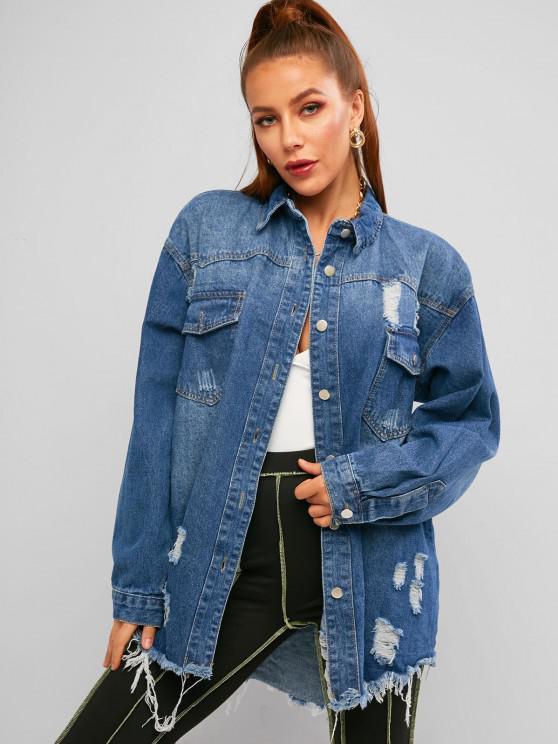 buy Distressed Frayed Raw Cut Boyfriend Denim Coat - BLUE M